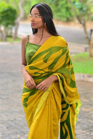Urban Drape Golden Shimmer Saree