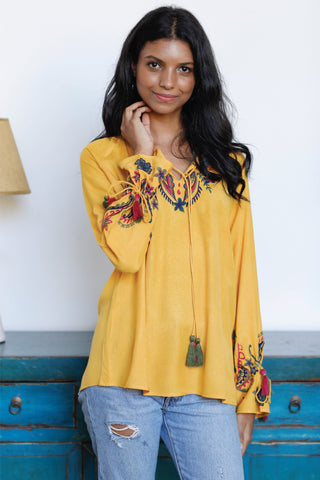Embroidered Blouse with Tassel Details at Neck and Sleeves
