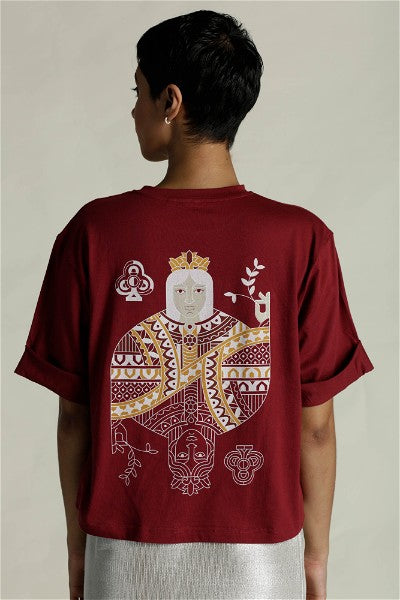 Queen Of Clubs Red T-Shirt