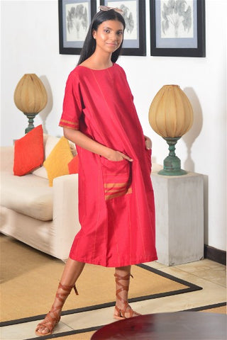 A Line Handloom Midi Dress