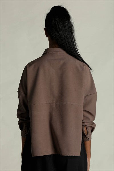 Queen Of Hearts Drop Shoulder Shirt - Dark Beige