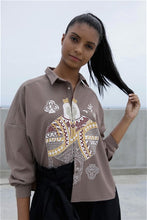 Load image into Gallery viewer, Queen Of Hearts Drop Shoulder Shirt - Dark Beige