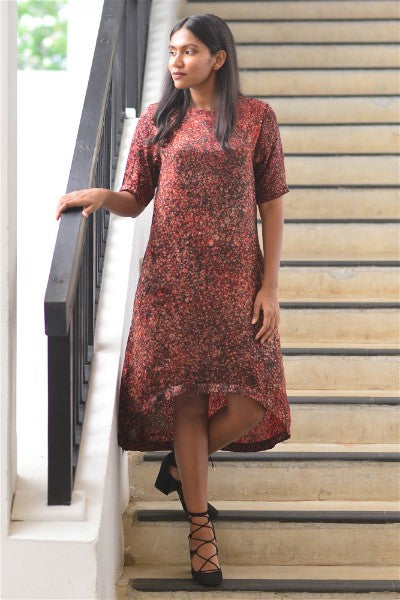 Blossoming Splash Silk Batik  Dip hem Dress