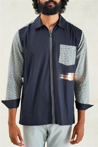 Foil Brush Strokes ZIP-UP Long Sleeves Shirt
