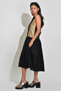 A Line Sleeveless Black Dress