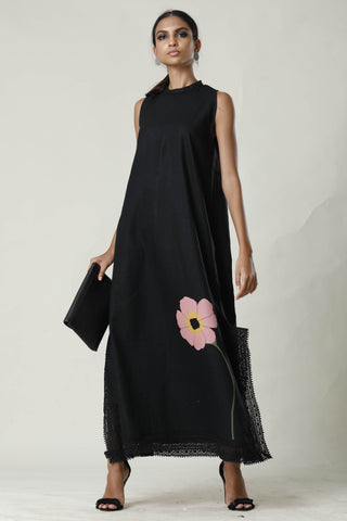 Black Lace Slit Long Maxi