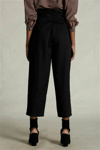 Black Paper Bag Waist Pants