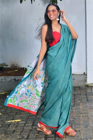 Urban Drape Fern Green Saree -Shipping From 24th July