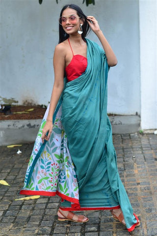 Urban Drape Fern Green Saree