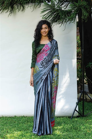 Urban Drape Dragonfly Silk Batik Saree