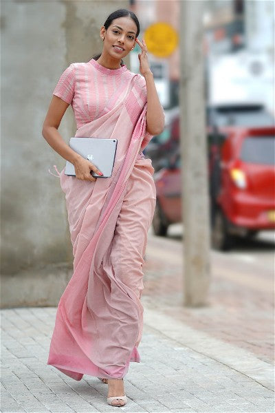 Urban Drape Taupe Pink Corals Saree -Shipping From 23rd September
