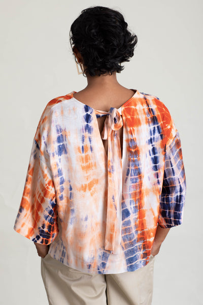 Wide Sleeve Tie Dye Top