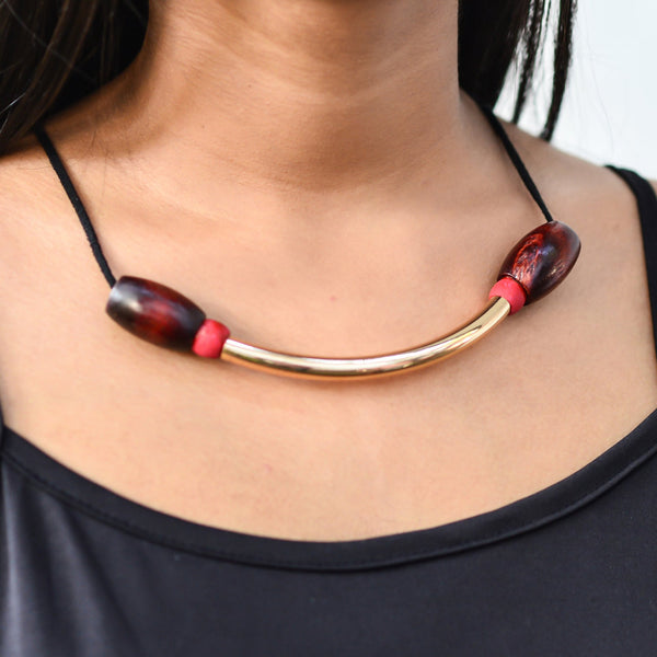 Gold tube with wooden bead - Fashion Market.LK