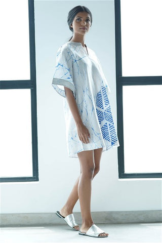 Mandarin Collar White Batik Dress