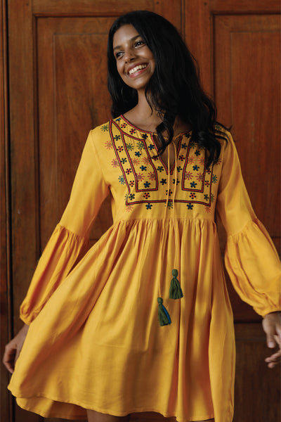 Embroidered Dress With Front Yoke Embroidery