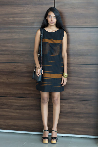 Hand woven Shift Dress- Black & Bronze
