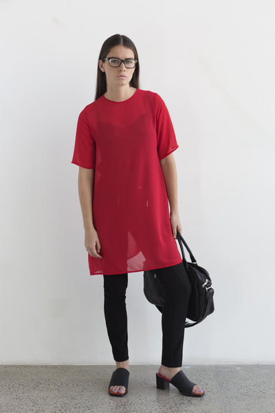 Red sheer tshirt dress