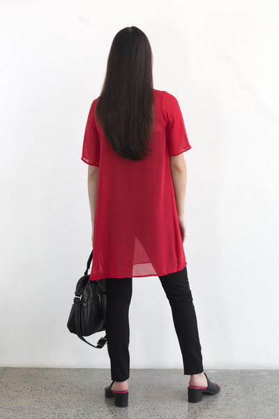 SHAY Red sheer tshirt dress