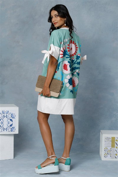 Anatolia Mint Bow Tie Dress With Print