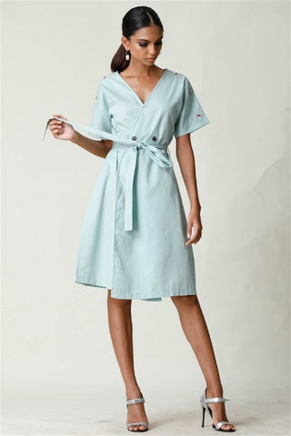 Aqua Embroidered Cardigan Dress
