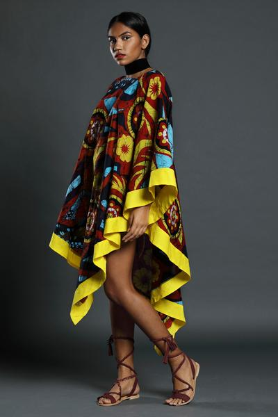 Batik cape dress - Fashion Market.LK