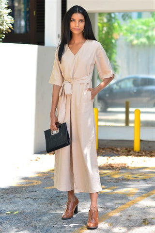 Beige Wrap Jumpsuit