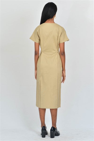 Beige Wrap Pleat Dress