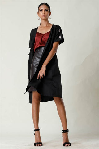 Black Embroided Cardigan Dress
