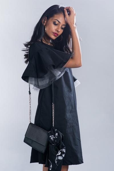 Black Shift dress with Tulle sleeve