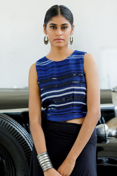 Blue Textured Handwoven Blouse - Fashion Market.LK