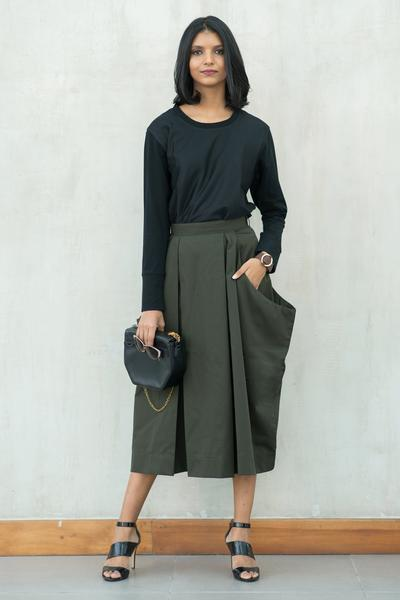 Box Pleated maxi skirt - Fashion Market.LK