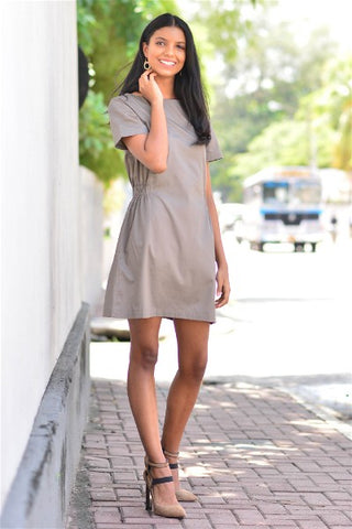 Brown Gather Dress