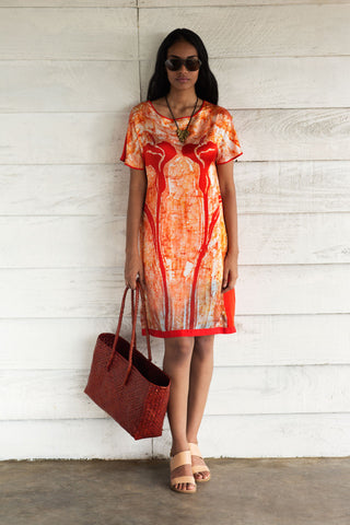 Batik Orange & White Dress