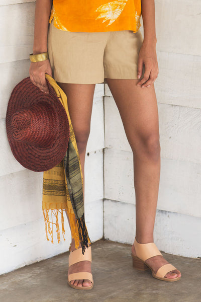House of Lonali Linen Beach Shorts - Beige