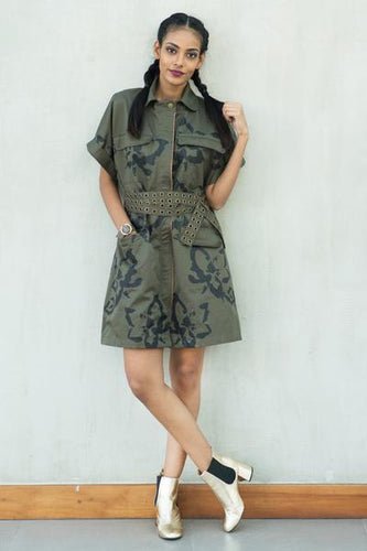 Camo Floral Printed Trench Dress with Belt - Fashion Market.LK