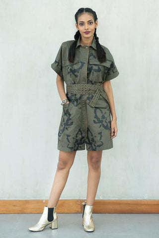 Camo Floral Printed Trench Dress with Belt