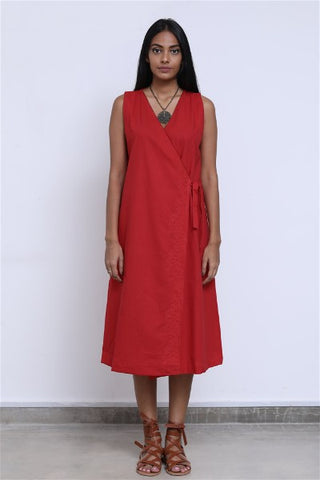 Ceylon Motif Embroidered Linen Wrap Dress