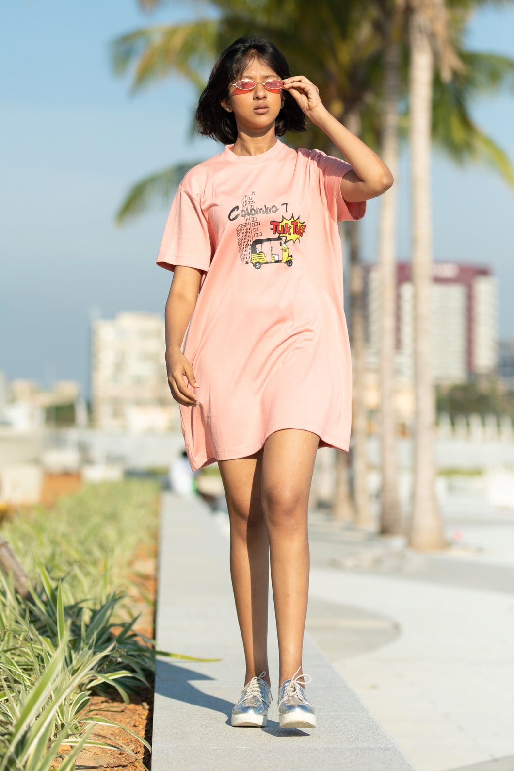 Retro Hipster Dusty Pink T-shirt Dress