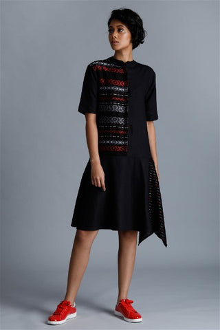 Contrast Handwoven Panel Shirt Dress