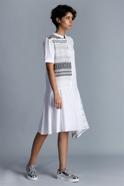 Contrast Handwoven Panel Shirt Dress V3