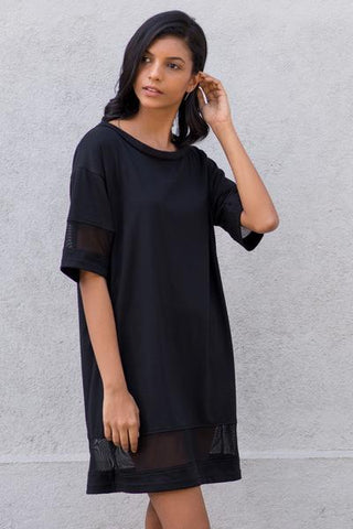 Crew neck mesh mix boyfriend tshirt dress