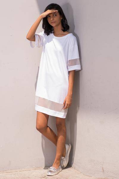Crew neck mesh mix boyfriend tshirt dress - Fashion Market.LK