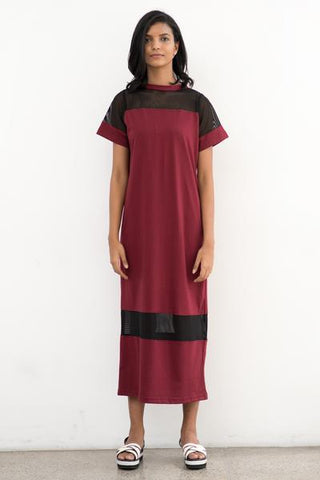 Crew neck, mesh mix relaxed fit maxi