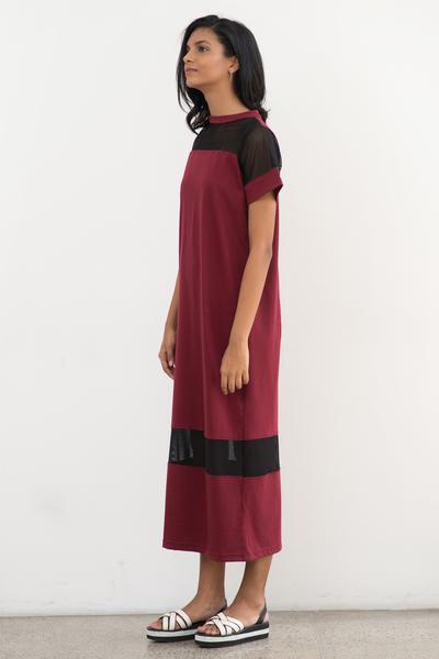 Crew neck, mesh mix relaxed fit maxi - Fashion Market.LK