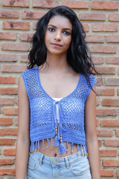 Crochet Bolero - Light Blue - Fashion Market.LK