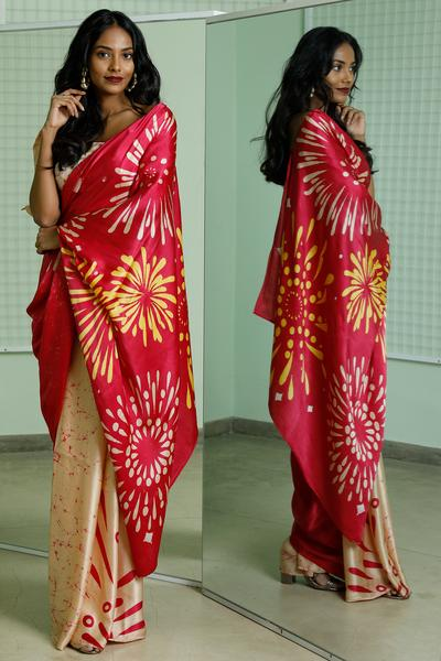 Urban Drape Divali Pink Fire Work Saree