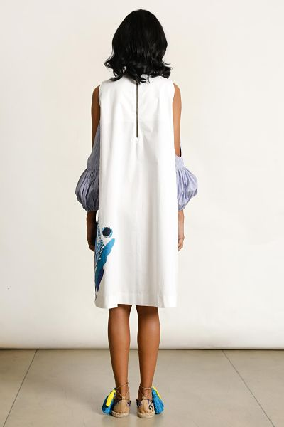 Dondra Whites Exaggerated Cold Shoulder Dress - Fashion Market.LK