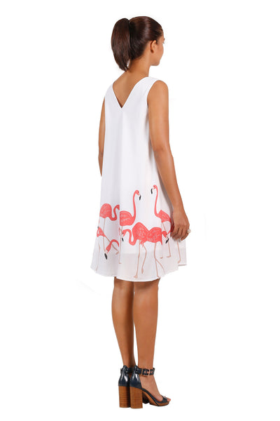 Charlene Flamingo print flare sleeveless dress