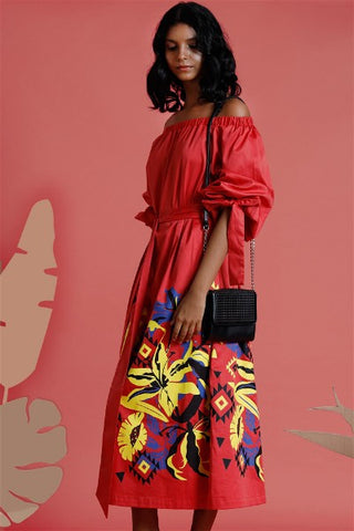 Dune?rose off shoulder Maxi dress with print