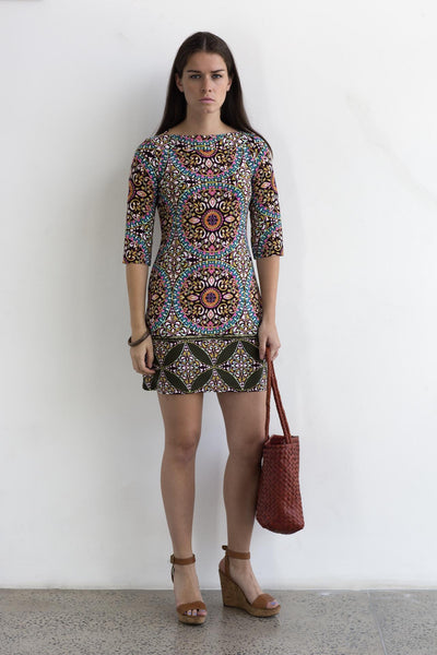 Mini shift dress- Mosiac print